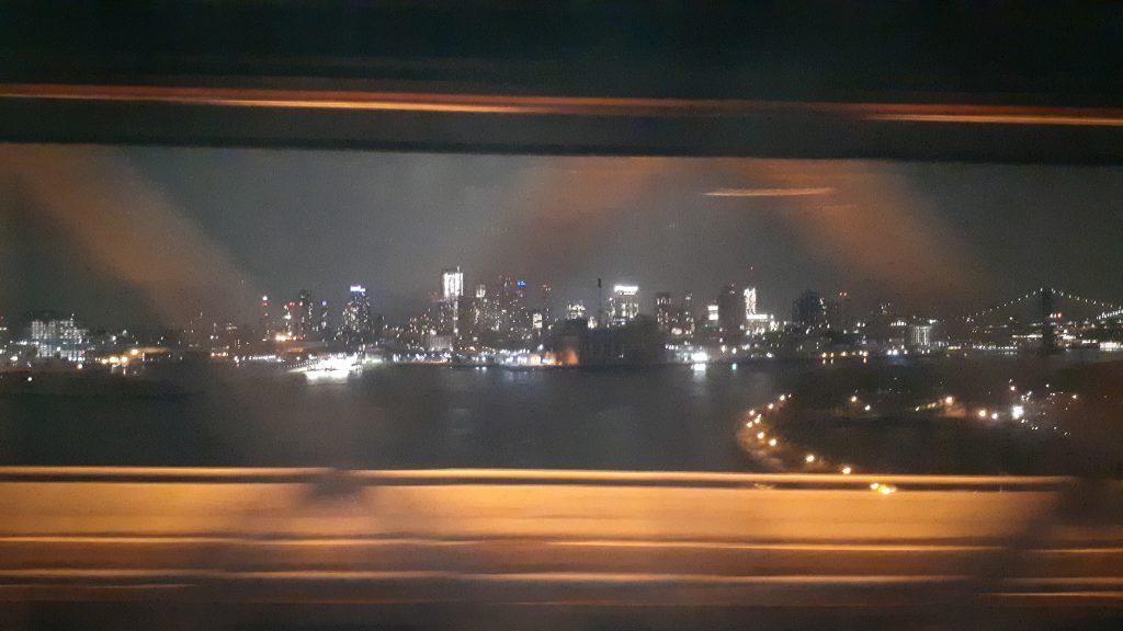 Manhattan by night seen from Manhattan Bridge
