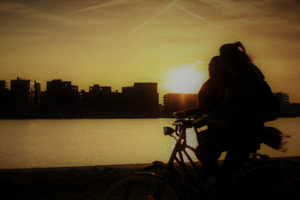 Sunset over Het IJ in Amsterdam