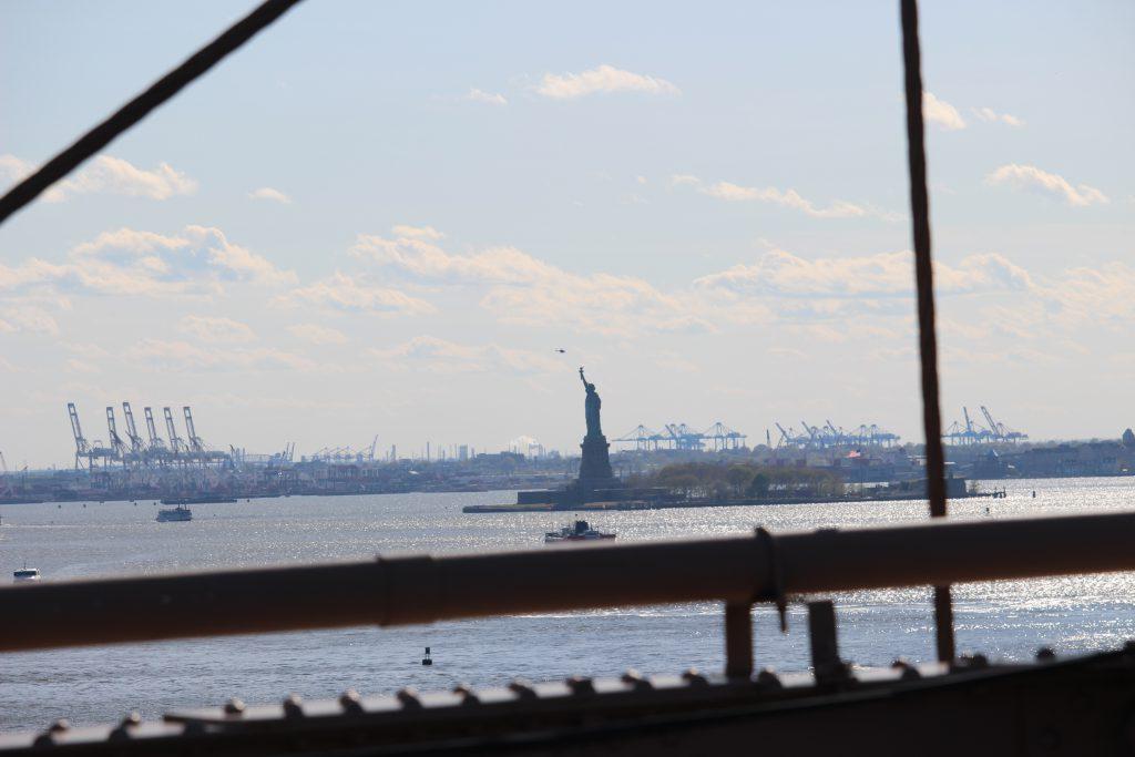 Statue of Liberty seen from Brooklyn bridge
