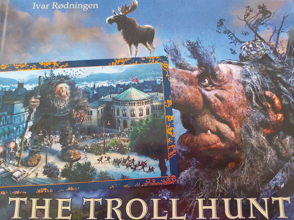 Troll book by Ivar Rødningen, on the postcard you see a troll in Ålesund